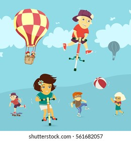 Children playing in the outdoors vector illustration - Shutterstock ID 561682057