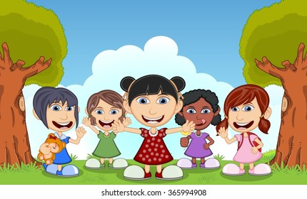 Children playing in the park cartoon vector illustration