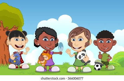 Children playing in the park with her doll and his ball cartoon vector illustration