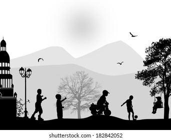 Children playing in a park on beautiful place, vector illustration