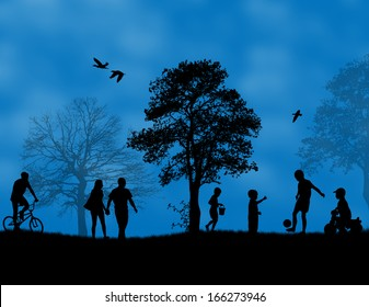 Children playing in a park on blue sunset, vector illustration