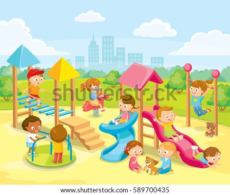 Children Playing Playground Stock Vector (Royalty Free ...