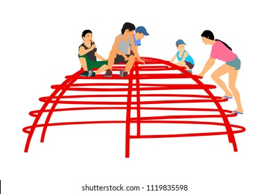 Children Playing at playground climber toy in entertainment park vector illustration. Outdoor activity, friends play fun. Kids climbers. Boys and girls enjoying after school. Active kids.