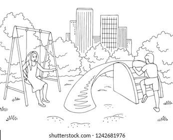 Children playing at playground graphic black white landscape sketch illustration vector