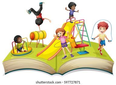 Children playing in playground illustration