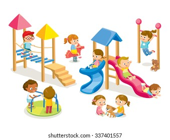 Children playing in the playground isolated on white