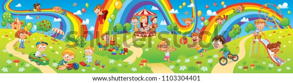 Children playing in playground. Kids zone. Place for games. Funny cartoon characters. Children slide down on a rainbow. Amusement park rides. Vector illustration. Seamless panorama