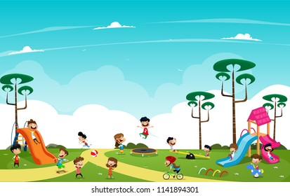 Children playing in the playground outside. Cartoon vector illustration