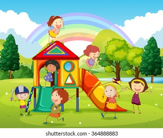 Children playing at the playground in the park illustration