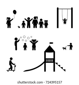 children playing, playground, stick figure isolated pictograms, vector set