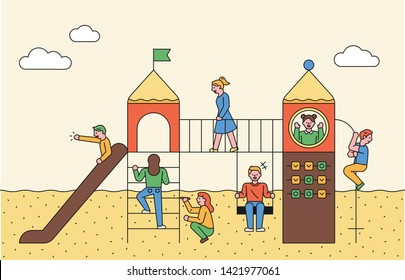 Children playing in the playground's sliding platform. flat design style minimal vector illustration