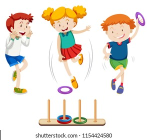Children playing ring toss illustration