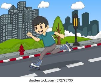 children playing roller skate cartoon vector illustration