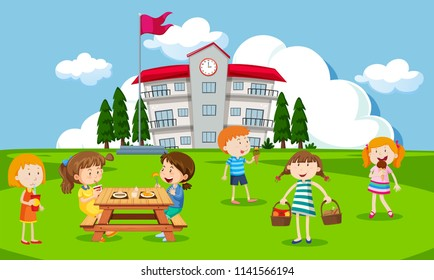 Children playing at school playground illustration