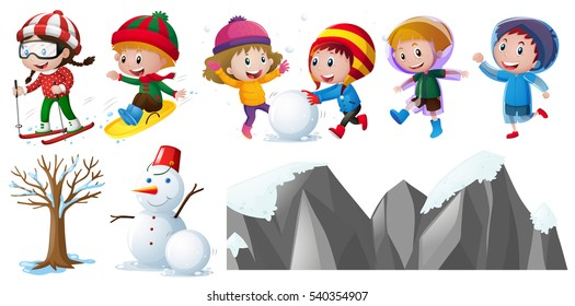 Children playing in the snow illustration
