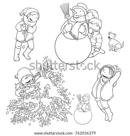 Children Playing Snow Set Kids Dog Stock Vector Royalty Free