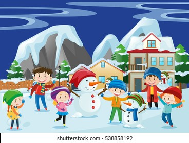 Children playing snow in winter illustration