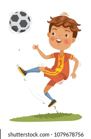 Children playing soccer in a football uniform. Boys with soccer ball do kick on the lawn. The health and potential of children. Vector cartoon illustrations isolated on white background.