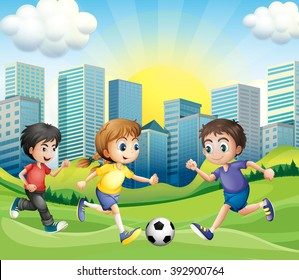 Children playing soccer in the park illustration