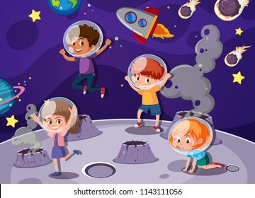 Children playing in space illustration