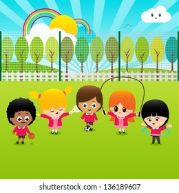 Children playing sports outside in red school uniforms on a school field. Vector illustration.