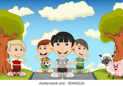 Children playing at the street with pig and sheep cartoon vector illustration