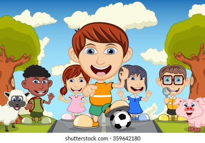 Children playing at the street waving their hand with sheep and pig cartoon vector illustration
