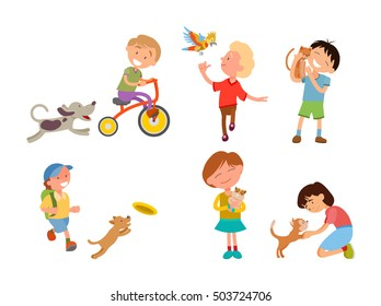 Children playing with their pets, vector illustration. Kids with dog, cat, parrot, cavy