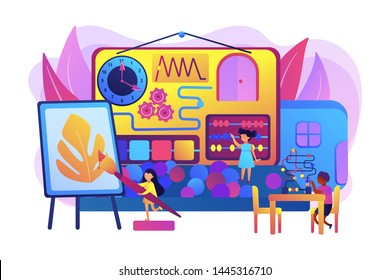 Children playing with toys. Kids entertainment and education. Child friendly area, kid friendly place, you are welcome here with your child concept. Bright vibrant violet vector isolated illustration