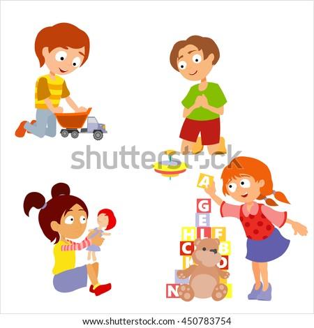 Children Playing Toys Set Children Kindergarten Stock Vector