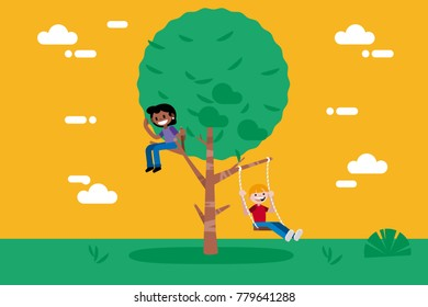 Children Playing in a Tree.  The boy is swinging in a swing. Vector illustration in a flat, minimal style.