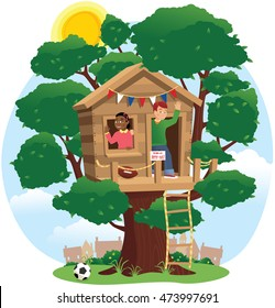 Children playing in tree house.