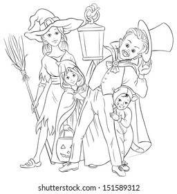 Children Playing Trick Or Treat Halloween Holiday Cartoon Illustration Coloring Page Also Available