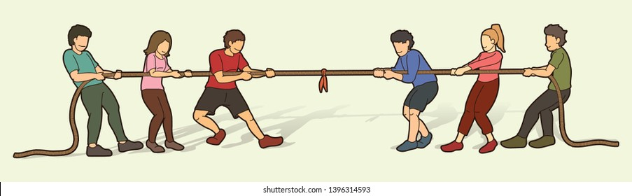 Children playing tug of war cartoon graphic vector