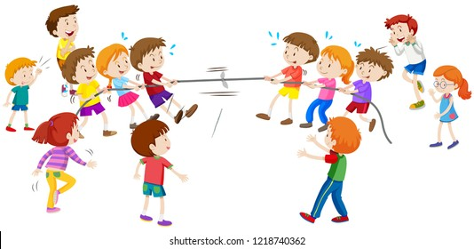 Children playing tug a war illustration