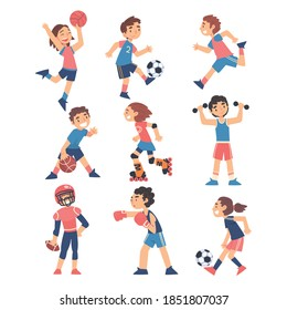 Children Playing Various Sports Set, Boys and Girls Playing Ball, Roller Skating, Boxing, Healthy Lifestyle Concept Cartoon Style Vector Illustration