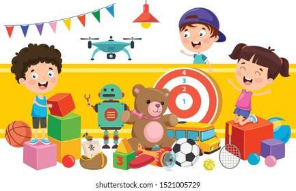 Children Playing With Various Toys