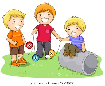 Children playing with Yo-yo in the Park - Vector