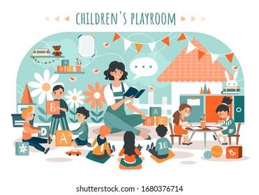 Children playroom, kids with teacher in kindergarten, vector illustration. Daycare preschool center, children nursery, woman reading book to kids. People cartoon characters kindergarten playroom