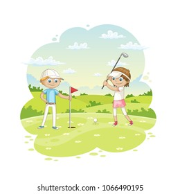 Children plays golf on a golf course, vector illustration
