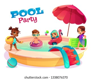 Children pool party cartoon vector concept with multinational boys and girls in swimsuits, playing in water, swimming in pool with inflatable mattress, flamingo ring illustration. Kids summer leisure