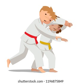 Children are practicing, defending skills in uniform. Colorful vector flat illustration. Suitable for oriental martial arts such as aikido, judo, karate, jiu-jitsu, budo