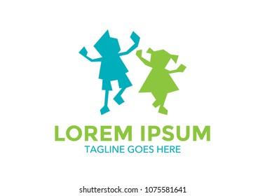 children. pre school logo. icon. hand. kids. vector illustration