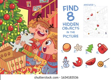 Children presented puppy for Christmas. Find 8 hidden objects in the picture. Puzzle Hidden Items. Funny cartoon character
