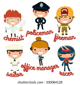 children professions. chemist, policeman, fireman, sailor, office manager, racer. vector character set.