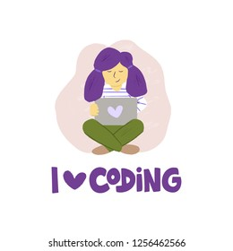 Children programming concept with hand drawn purple lettering. Girl coding behind the laptop. I love coding quote. Vector illustration isolated on white background