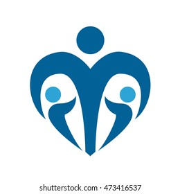 Children protection social sign. Child care navy blue logo. Isolated illustration. Vector.