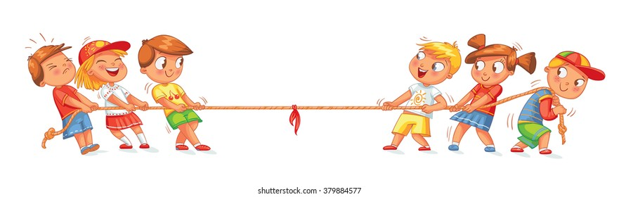 Children pull the rope. Kids playing tug of war. Funny cartoon character. Vector illustration. Isolated on white background