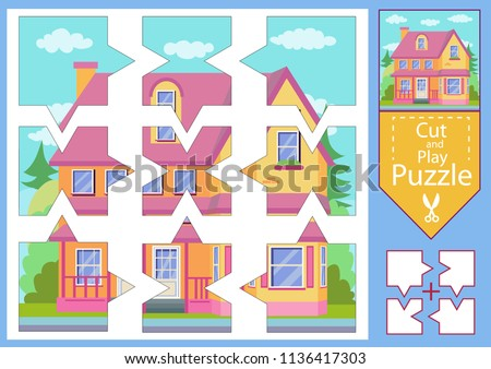 Children Puzzle Game Worksheets Drawing House Stock Vector (Royalty ...