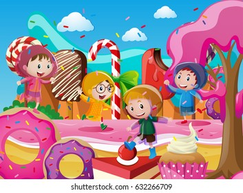 Children in raincoats playing in candyland illustration